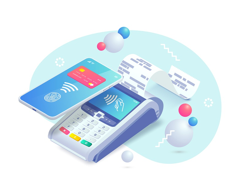 Contactless payment isometric illustration payments pay vector cashless ecommerce nfc terminal phone payment isometry isometric illustration