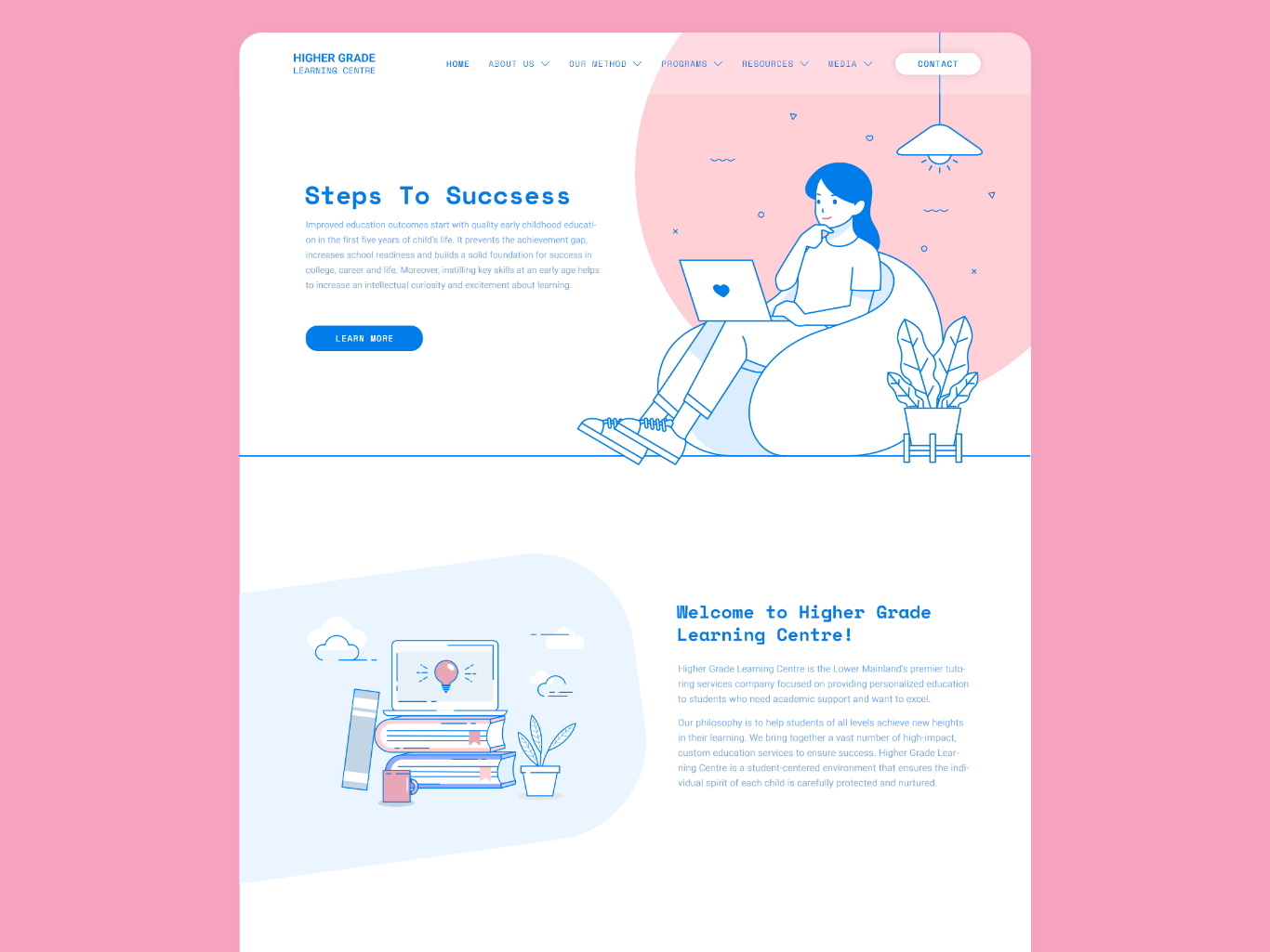 Education Platform Website ux branding design website web ui landing illustration
