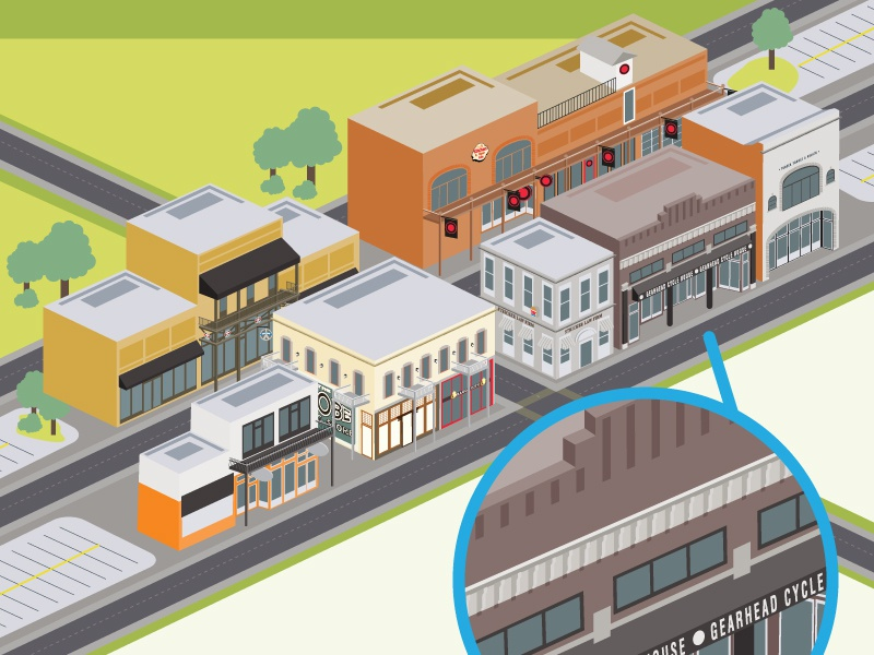Tiny Downtown Buildings illustrated illustrator arkansas downtown tiny infographic poster tiny buildings