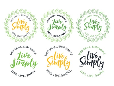 Etsy Shop Logo - Live Simply etsy crafting mom small business simple illustrated illustrator leaves laurel wreath