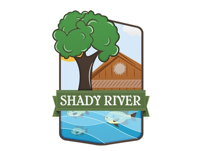Shady River Resorts wood carving carved illustrated illustrator icon package design product packaging etched cabins resort logo