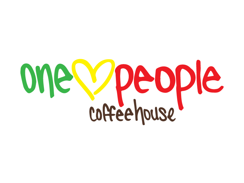 One Love People Coffeehouse - logo sticker package design illustrator custom font handletter bob marley coffee shop coffeehouse