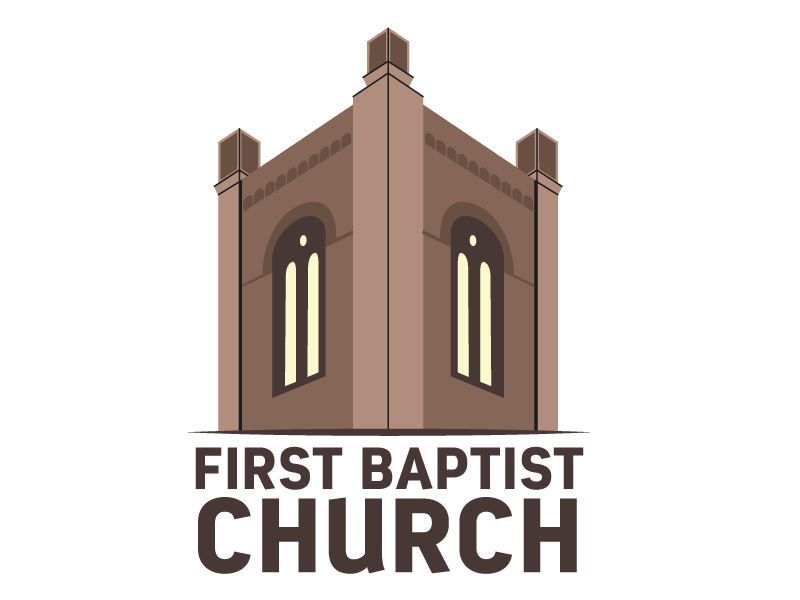 First Baptist Church - illustrated tower logo perspective building bell tower tower logo illustrator illustrated church