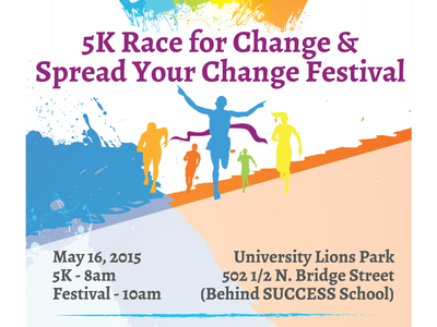 Spread Your Change Festival watercolor gradients illustrated poster tshirt community race 5k festival
