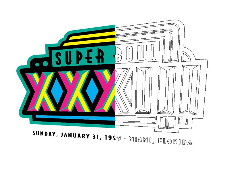 Bowl Anniversary Project screenprint hot stamp illustrator illustrated line art vectorize logos football super bowl