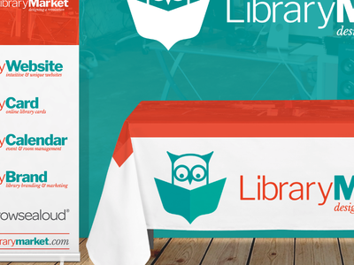 Library Market Tradeshow Kit conference banner tablecloth public library booth tradeshow