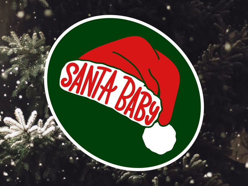 Christmas sticker hat santa print poster icon logo vector design flat illustration art sticker christmas