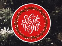 Christmas sticker. Silent night winter red holiday night silent stickers christmas sticker print poster icon logo vector design flat illustration art