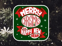 Holliday art. Christmas sticker winter green new year christmas holliday sticker print poster icon logo vector design flat illustration art