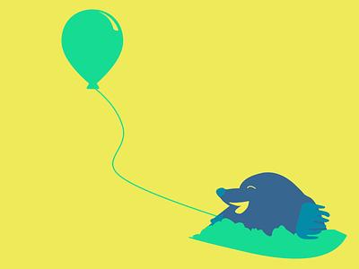 Mole with balloon animals design vector balloon mole illustration illustrator character 2d art
