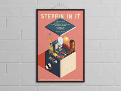 Steppin' In It Gig Poster Isometric Illustration