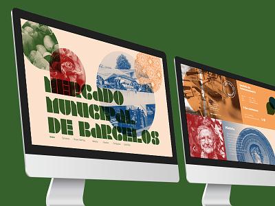 Barcelos Municipal Market — Website landing page desktop web design grid fields organic color typography stencil identity design branding