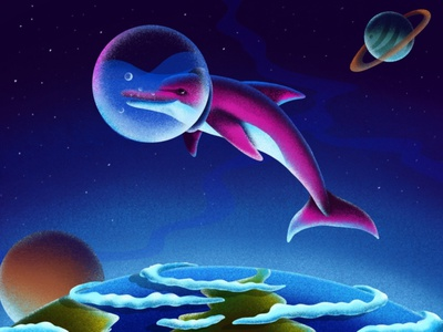 Space dolphin childrens book artwork animals illustraion procreate digitalart artist colors brush art