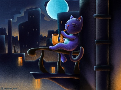 Night Cat musician digital design childrens illustration brush cartoons procreate artist animal cat illustration artwork poster childrens book animals digitalart colors art