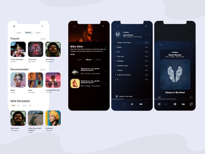 music streaming app ux ui concept song ios app design dark ui music player streaming app streaming player ui player