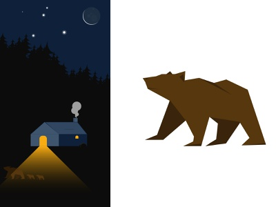 Cottage at night beginner cottage flat jungle moon bears illustration