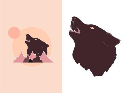 wolf moon montain beginner illustration moon wolf