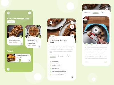 Recipes App green ui cooking app cooking recipes food app mobile app ui design ios app recipes app app