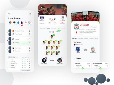 Live Score App sports design team ui design ux design ios live score sport app football ux ui design mobile app app