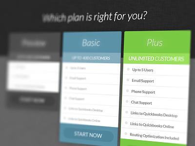 Promo Landing Page form signup layout blue green plan service web design