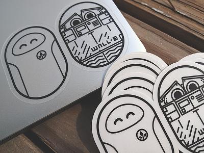 Eve and Walle Stickers - Pixar Pill Pals sticker cute illustration friends robot eve wall-e robots pixar walle