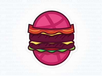 The Double Dribbble Bacon Cheesebbburger sticker sandwich bacon cheeseburger