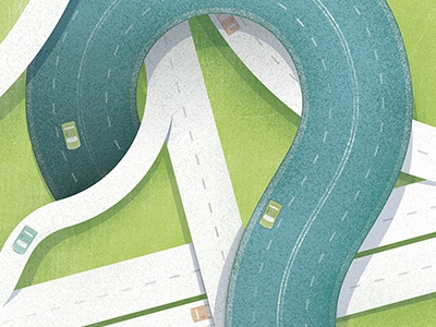 """""""Questions from the Road"""" Illustration car cars road driving highway roads driving on the highway driving on the road highway system"""