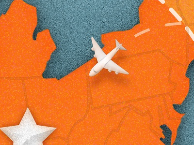 USA Map of Museum Location illustration airplane map plane usa texture flying