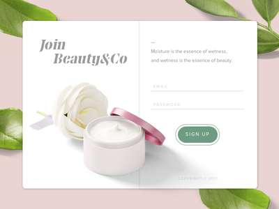 Sign up Page | Day 001 #DailyUI signup beauty ux ui dailyui