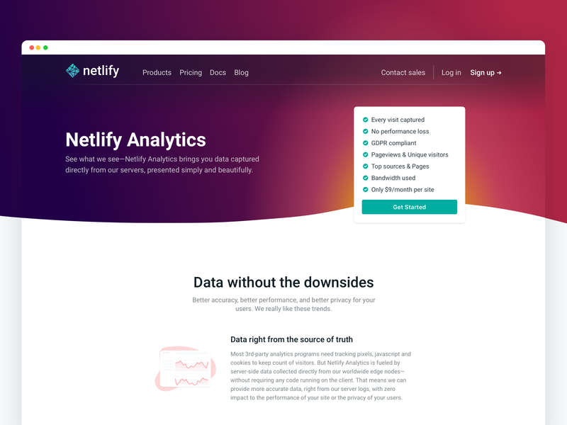 Netlify Analytics: Marketing page gradient wave landing page landing analytics website web marketing netlify