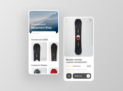 Snowboard equipment Shop UI