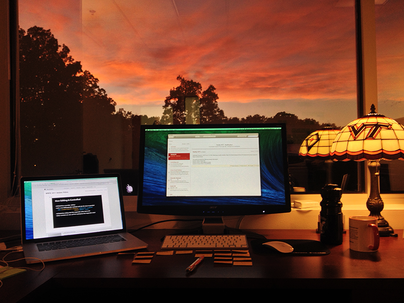 Workspace at Sunset workspace photo desk office work workstation mbp sunset window