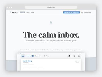 Simplified website for Mail Pilot mail pilot website app email