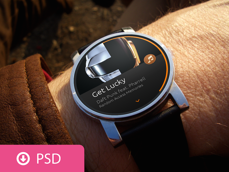 Android Wear Scene PSD Template moto 360 android wear template download psd watch smartwatch ui
