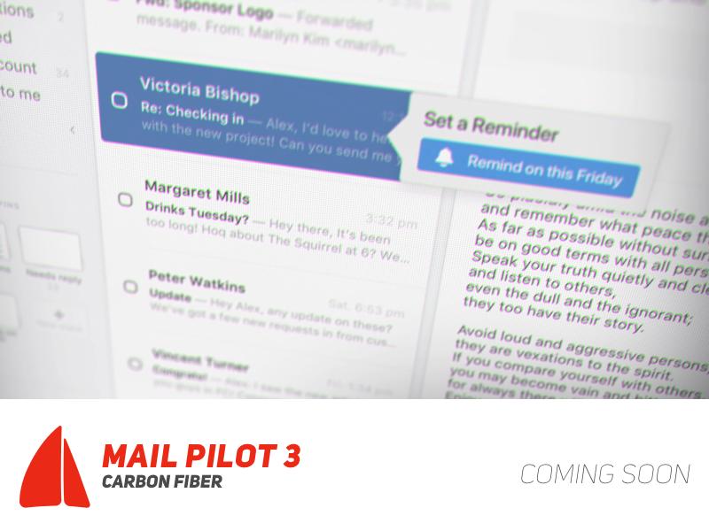 """Teaser for Mail Pilot 3 """"Carbon Fiber"""" carbon fiber mail pilot teaser video mac app email"""