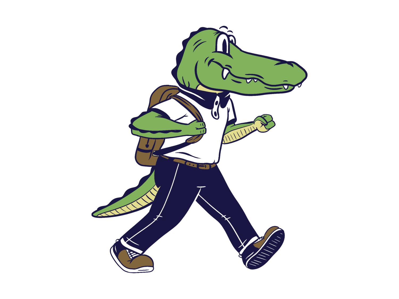 Elementary School Mascot - Alligator Logo graphic design logo brand identity character illustration design mascot logo design branding