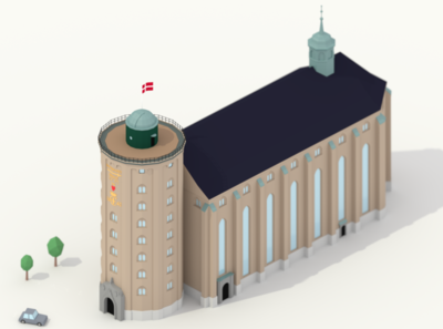 Round Tower and the Trinitatis Church - Copenhagen - Blender - L