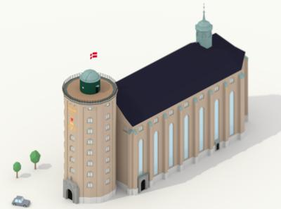 Round Tower and the Trinitatis Church - Copenhagen - Blender