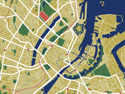 Map of Copenhagen - Denmark - Illustrator