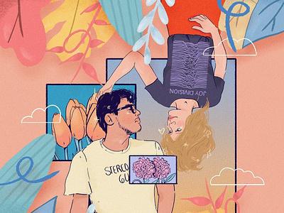 Couple commission flowers illustration love peekaboo couple