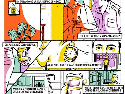 Detalle de viñeta pastel comic kidnapping mexico illustration