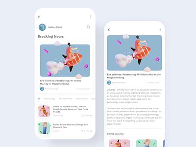 News Apps branding app vector dailyui daily ui illustrator mockups illustration design ui