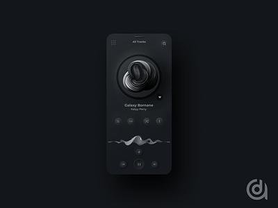 Abume music Player Dark  App web design app design ux design ux user experience ui design ui product design mobile minimal player music ios interface interaction design illustration neumorphism figma dribbble app