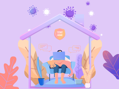 Work from home  and stay safe health wfh covid19 web design vector ux ui stay safe stay home quarantine minimal interface illustrator illustration design coronavirus clean character artwork app