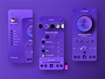 Music App Player user interface concept  cards web ux user interface design user experience design user experience ui player neumorphic neumorphism neumorph music player music side menu mobile ui mobile app design mobile app mobile minimal ios iphone app design interface interaction design gradient