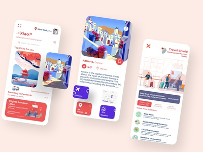 Traveling in Pandemic Safety guidelines illustration design system web design web ux user interface uiux ui travel app booking travel agency services online booking tourism minimal flight interface flight user experience trip planner covid19 clean cards components ios iphone app design app