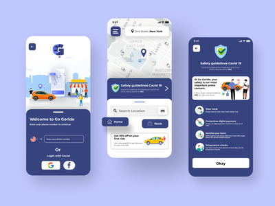 Go Goride taxi app user interface experience ui ux startup taxi uber saas booking ride rider rideshare product design onboarding signup mobile ui minimal clean map location lyft cab live tracking ios iphone application interaction design illustration art covid-19 coronavirus concept  logo car rental app design app