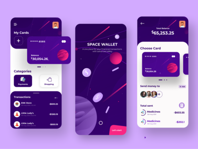 Space Wallet Banking app wallet startup user interface experience transfer money payments money transaction mobile ui ux interaction design illustration space fintech app fintech financial finance dashboard credit cards  creditcard clean minimal onboarding cards components banking app bank app design app