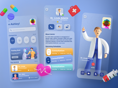 Ozko Health App ui  ux design character treatment people cms ios android clean minimal nurse consultations educations mobile app app design medicine medical healthcare patient hospital minimalist health medical user experience product design ui ux neumorphism glassmorphism 3d illustrations doctor appointment