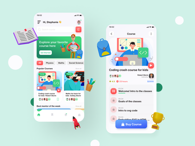 Education app trending teaching skillshare ui design visual product design layout 3d class courses design system edtech education app learning app platform mobile app e-learning minimal online school reading students study user experience (ux) userinterface ui ux character